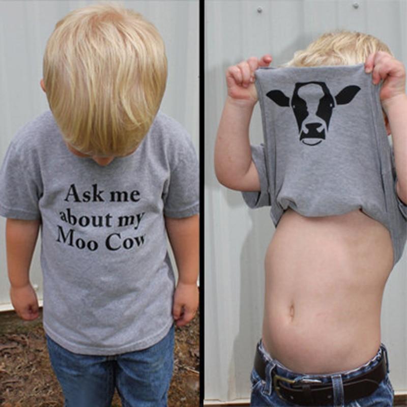 Fashion Kids Boys Girls T Shirts Cartoon Cow Short Sleeve Sport Shirt Infant Baby Shirt Simple Casual Tshirt Children Clothing