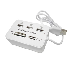 High Speed Card Reader with 3 Ports USB 2.0 Hub Splitter USB Hub External Memory Card Reader for MS/Micro SD/SD/MMC/M2/TF UE01