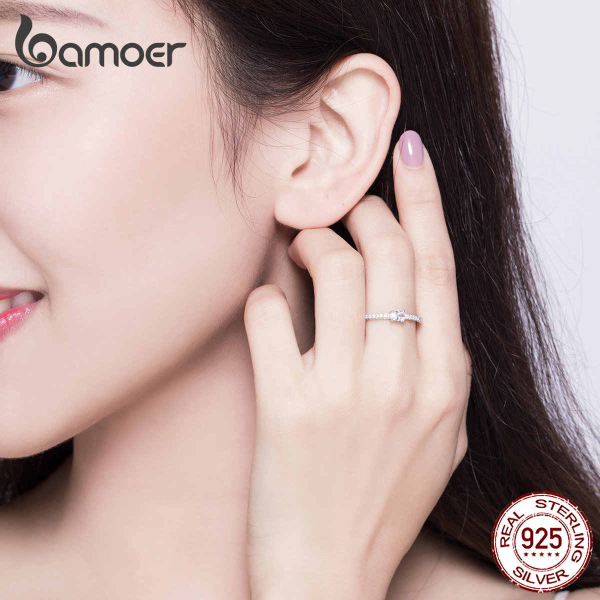 BAMOER แหวนเงินสเตอร์ลิง 925 CLEAR Cubic Zirconia หมั้นแหวนสัญญาเครื่องประดับ SCR524