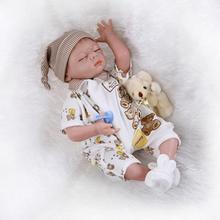 22inch Silicone Reborn Sleeping Baby Lifelike Newborn Boy Doll Kits Interactive Toys Women Nursery Training Collects