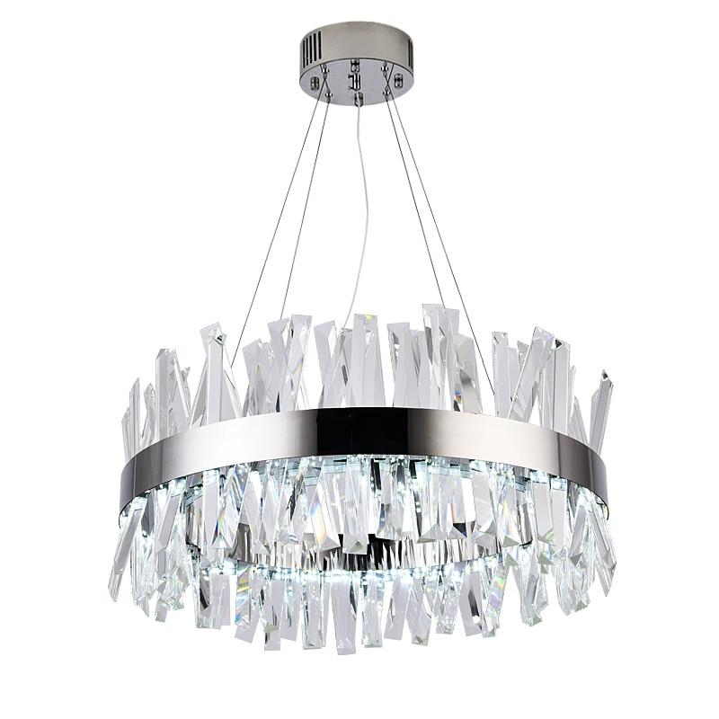 Nouveau lustre en cristal moderne en acier inoxydable designer salon LED lumières rondes chrome lumières décoratives