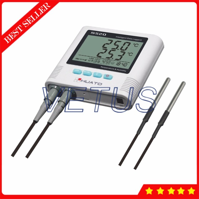 S520-DT USB Temperature Data Logger Datalogger with Double External Sensor 2 Channel 4,3000 Points storage function
