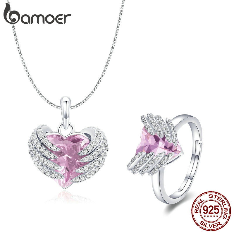 BAMOER Elegant 925 Sterling Silver Guardian Heart Angel Wings Pendant Necklace & Rings Jewelry Sets Authentic Silver Jewelry Set 925 sterling silver zircon pendant silver angel wings