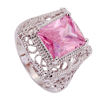 2015 Popular Pink Topaz 925 Silver Ring Size 6 7 8 9 10 11 New Fashion Jewelry Gift  For Women Wholesale Free Shipping
