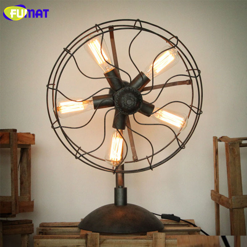 FUMAT Iron Fan Table Lamps American Country Nordic
