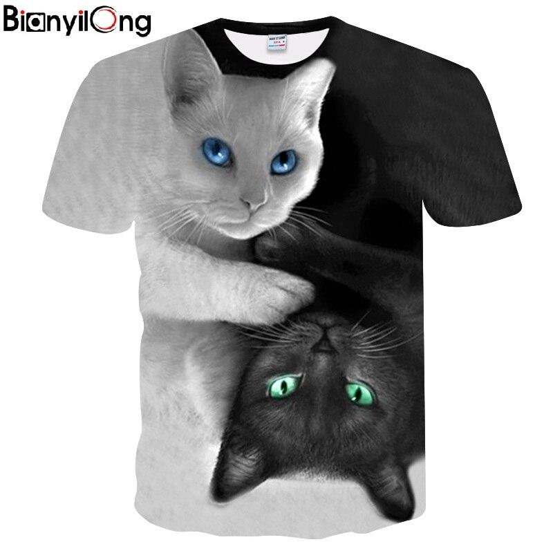 2018 New Cool T-shirt Hommes/Femmes 3d T-shirt Imprimer deux chat À Manches Courtes Été Tops T-shirts T shirt De Mode