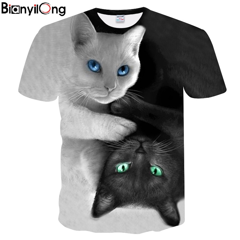 2018 New Cool T-shirt Männer/Frauen 3d Tshirt Drucken zwei katze Kurzarm Sommer Tops Tees t-shirt Mode
