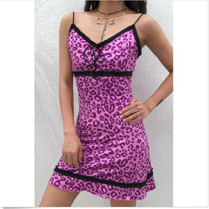 Dresses Woman Party Night Women Leopard Print Backless Straps Lace Dress Club Party Mini Dress Everything New Party Dress