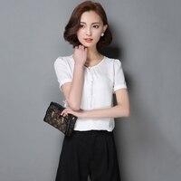 Summer Women Fashion Sheer Chiffon Blouse Ladies Solid Elegant Blouses Short Sleeve OL Office Shirt Plus Size Women' Tops