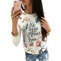 Women Print Florals Hoodies Sweatshirt Femme Blusas Y Camisas Vintage Vetement Mujer Femininas 2016 Crop Tops Tee Shirt LJ5582U