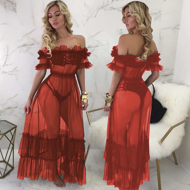 MUXU sexy backless transparent long dress off shoulder kleider plus size women clothing vestidos mujer ruffle robe femme pleated in Dresses from Women 39 s Clothing