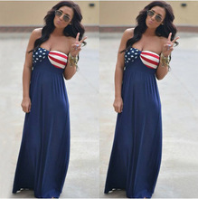 women dresses party plus size dress american flag print sexy casual girls vintage print straight floor-length clothes elegant