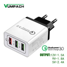 3 Ports Quick Charge 3.0 USB Charger Power Adapter for iPhon