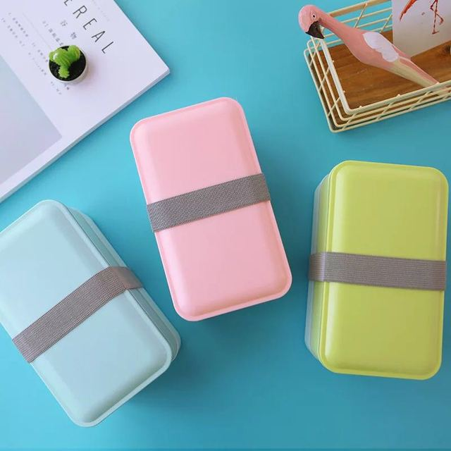 900ML Double Plastic Health Material Lunch Box Portable Children Lunch Box Microwave Tableware Food Storage Container Lunch Box