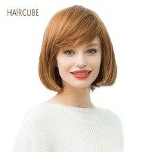 Лучший!  Haircube Синтетический парик Brown Bob женский смешанный 50% натуральные человеческие волосы