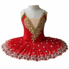 فستان باليه احترافي للبنات توتو للأطفال على شكل بحيرة البجعة فستان باليه أحمر للأطفال ملابس رقص للبنات