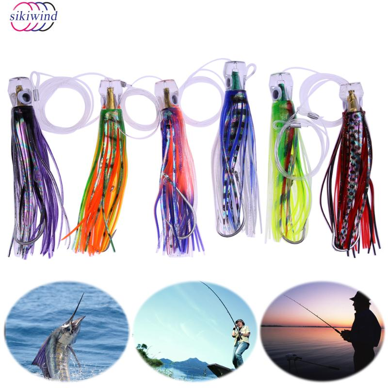 1 Set of 6 Pusher style Marlin Tuna Trolling Lures Hooks Fishing Tackle Soft Artificial Bait Fake Lure Pesca with Mesh Bag New