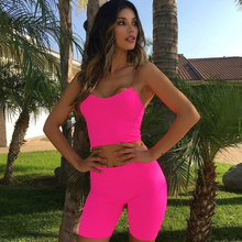 Women Sport Training Cycling Shorts Fluorescent Color Solid Color Sleeveless Short Pants Suits Set Sports Fitness Set