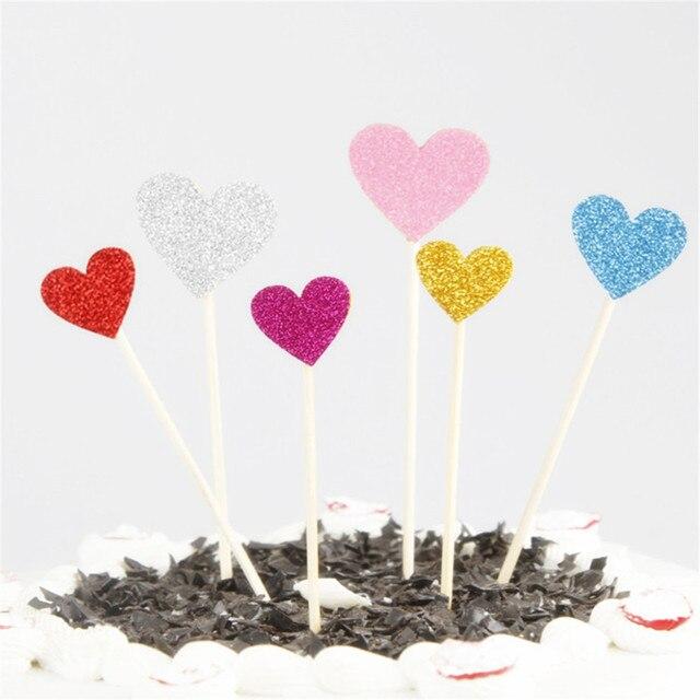 Toppers de cupcakes faits à la main avec joli cœur rose, fourniture de gâteau décoration de fête danniversaire ou de mariage, lot de 40 pièces