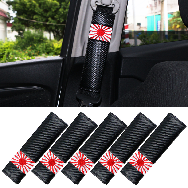 5 Pz/set Sede In Fibra Di Carbonio Auto Spalle Cintura Pad Camion Cinghia Copertura Della Protezione Fit For Nissan Lexus Mazda Toyota Subaru