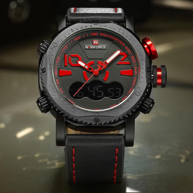 NAVIFORCE Marca de Lujo de Los Hombres de Cuero Deporte Militar Reloj de Hora Dual Analógico Digital Reloj de Pulsera de Cuarzo Hombre Reloj Relogio masculino