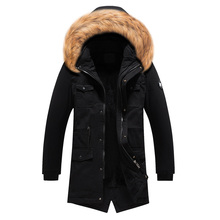 2019 Fashion Winter Long Jacket Men Solid Color Fur Collar Hooded Coat Outwear Classical Windproof Trench Thick Warm Parka Men women winter warm hooded coat windproof faux fur parka jacket trench outwear