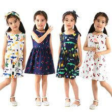 Fashion Summer Cotton Cherry Bow Decor Princess Dress Floral Vest Dresses for Girls(China)