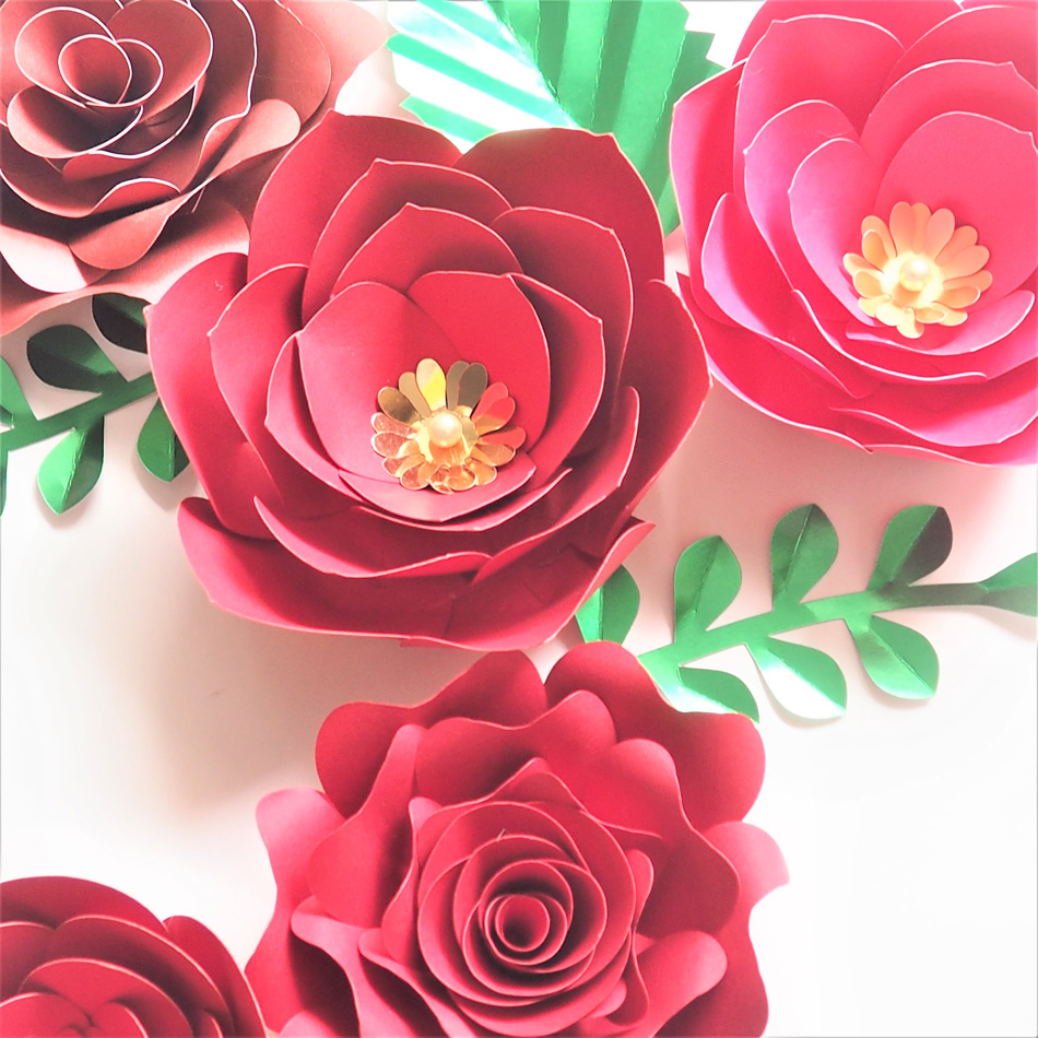 Buatan Tangan Kertas Karton Mawar Merah Diy Kertas Bunga Daun Set Untuk Natal Tahun Baru Latar Belakang Dekorasi Video Tutorial Buatan Bunga Kering Aliexpress