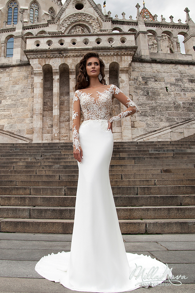 Sexy sheer wedding dresses 2017 full sleeves illusion boat neck sexy sheer wedding dresses 2017 full sleeves illusion boat neck white lace bridal gown satin dress robes de mariage sweetybridal in wedding dresses from junglespirit Gallery
