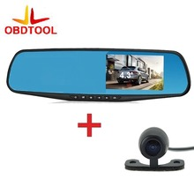 Cheapest prices Car Digital Video Recorder Dual Lens Rearview Mirror Reversing Camera Car DVR 4.3″ Full HD 1080P Camcorder Dash Cam Car Monitor