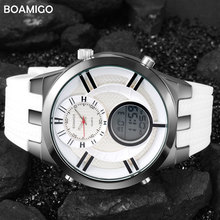 men sport watches fashion quartz watch for men rubber strap dual display analog digital watch BOAMIGO brand 30M waterproof clock