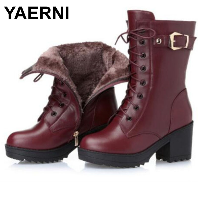 YAERNI High-heeled genuine leather women winter boots, thick wool warm women Martin boots, high-quality female snow boots E388 2016women s genuine leather boots high heeled winter boots designer wool lining motorcycle boots thick snowshoe free shipping