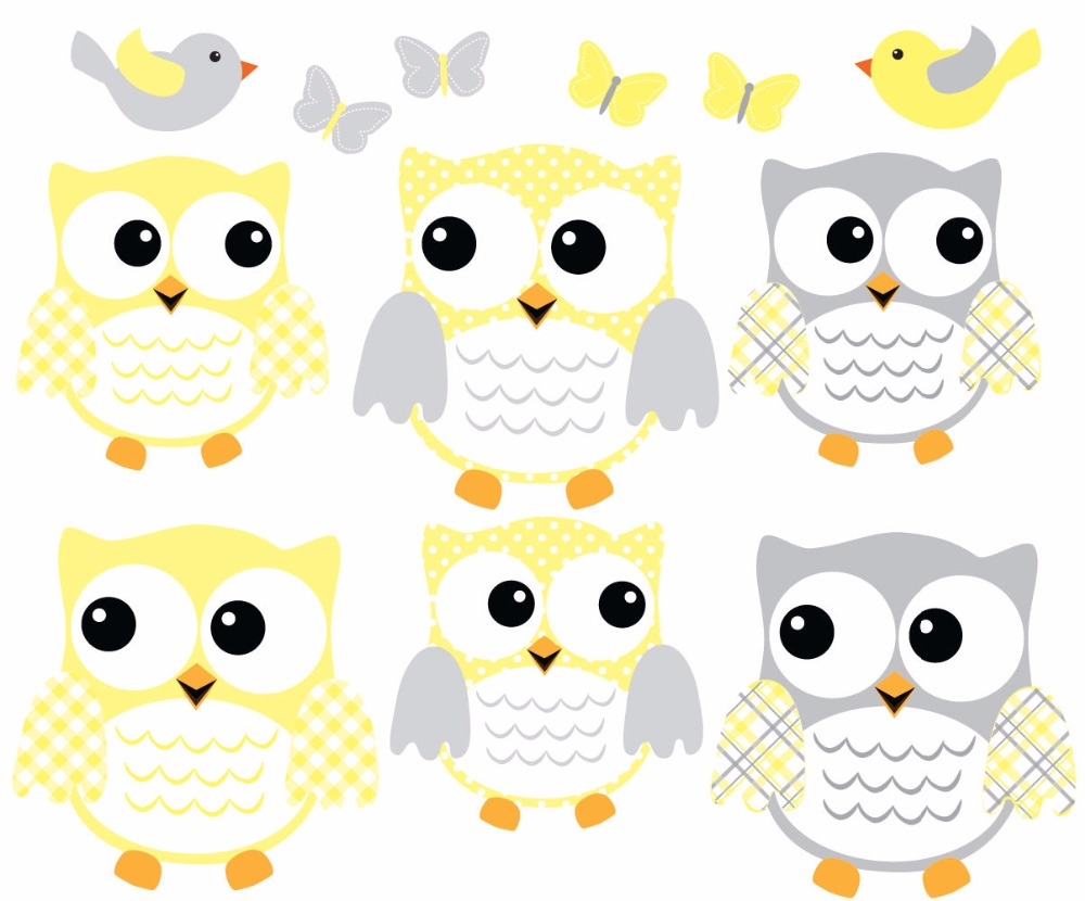 6 Fat Owl Set Wall Decal, Owl Wall Sticker, Baby Girl Nursery Owl ...