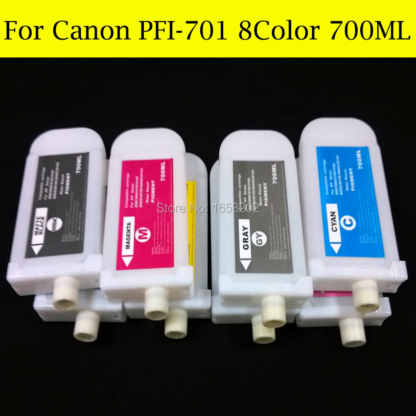 Wholesale 8 Color For Canon PFI-701 Refill Ink Cartridge For Canon iPF8000s iPF8010s iPF9010s iPF9000S Printer Without Chip 2900 ink for canon cartridge with arc chip for canon pgi 2900xl ink cartridge of maxify mb2390 mb2090 printers pigment ink