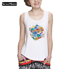SexeMara Women  tank top Good Quality Cube Tank Top Rainbow Abstraction Rubik Print Funny Image