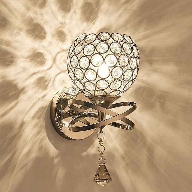 Modern Dual Crystal Wall Lamp Sconce Pull Chain Cord Switch Light