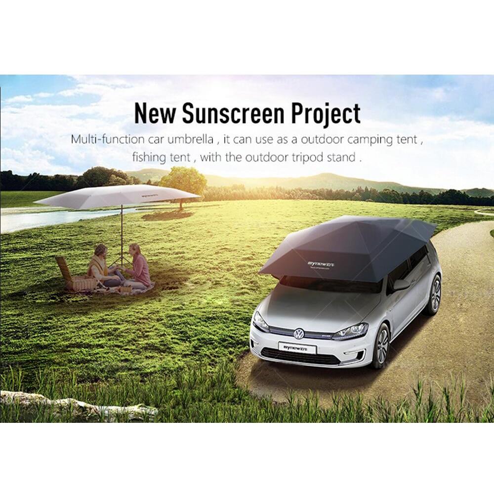 Folding Waterproof Semi Automatic Car Umbrella Car Sun Shade Kit UV Roof Cover Tent Umbrella Protection