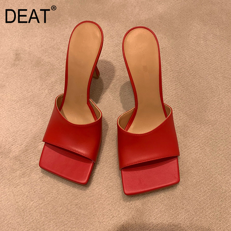 DEAT 2019 New Spring Summer Square Toe Shallow Pu Leather Outside Personality Thin High Heels