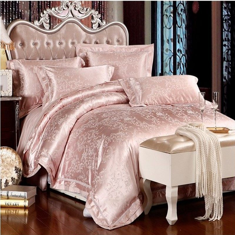 46pcs jacquard silk bedding set queen king size satin