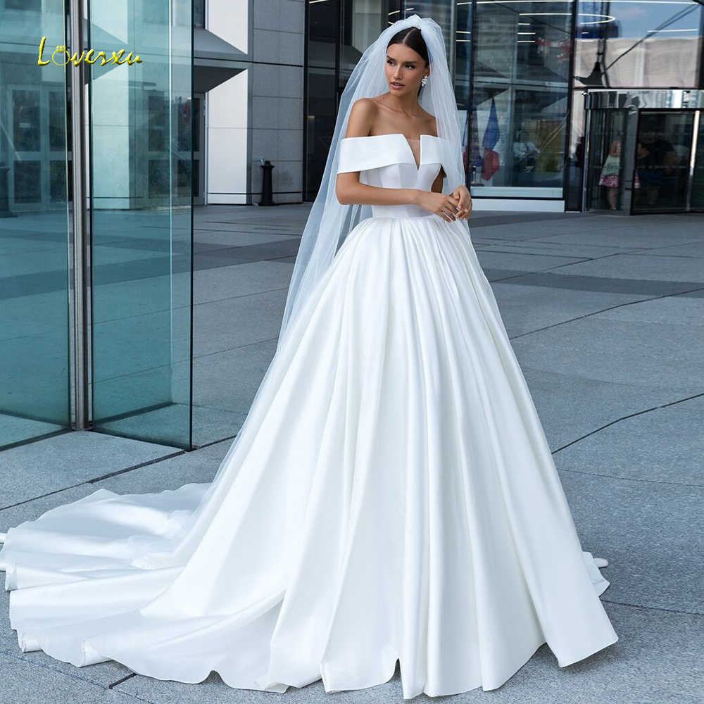 Loverxu Sexy Boat Neck Matte Satin Princess Wedding Dresses 2019 Simple Court Train Draped Vintage A