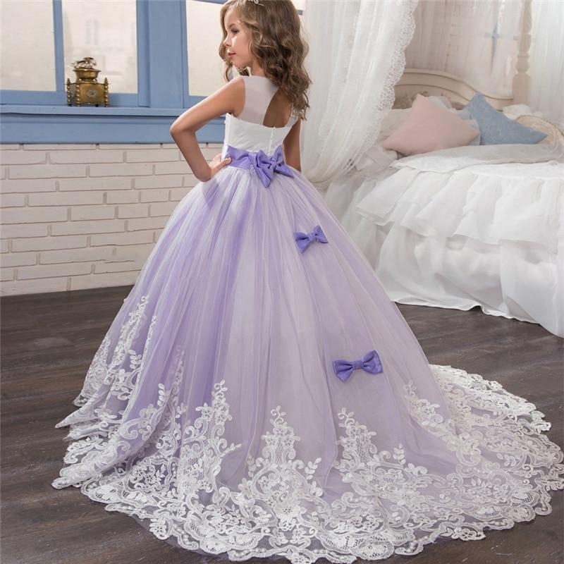 Vestido De Princesa Elegante Para Ninas Boda Purpura Tul Encaje Largo Vestido De Nina Fiesta Desfile Damas De Honor Vestido Formal Para Chicas