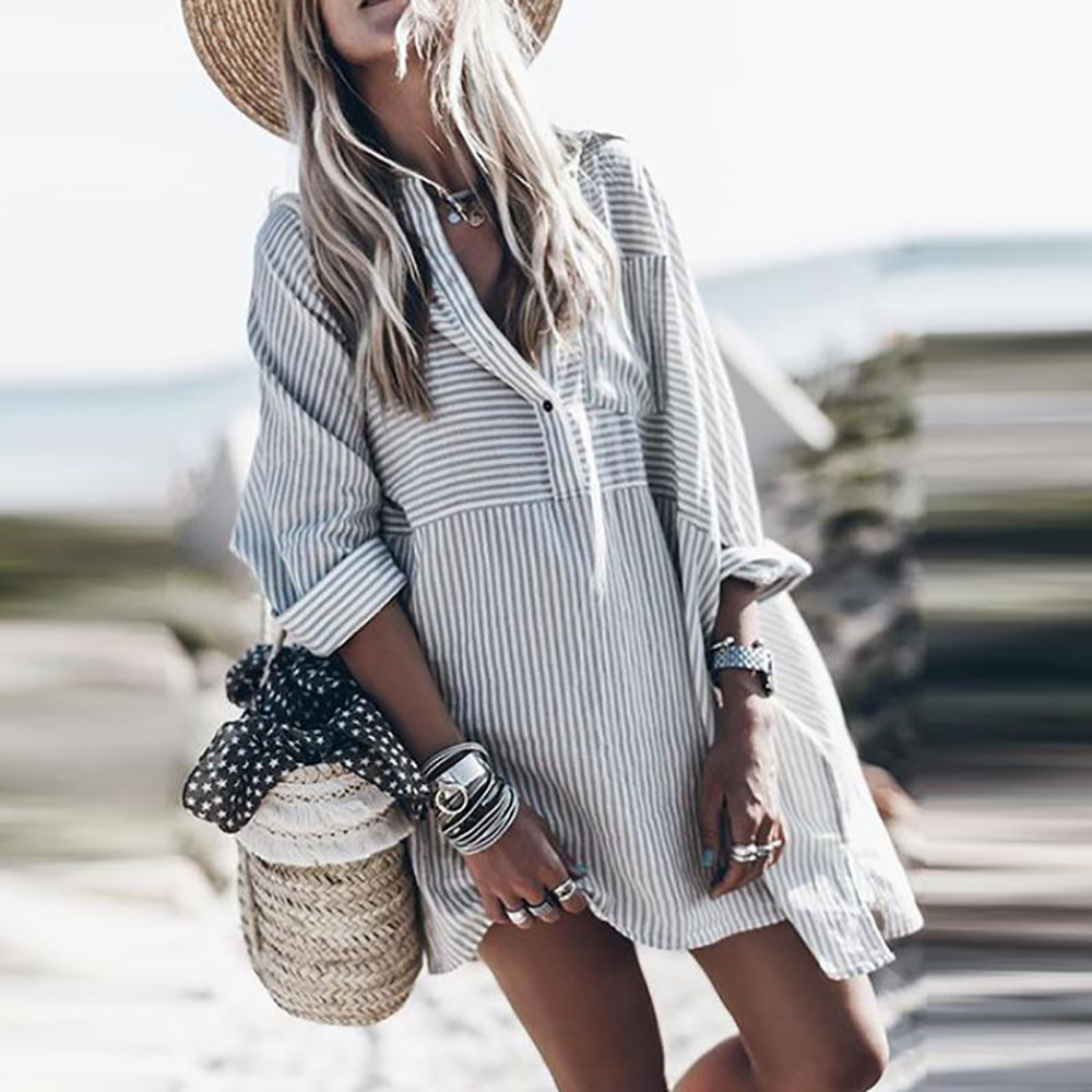 bed1f55b48d98 Detail Feedback Questions about women tunic plus size Blouses Casual Long  Sleeve Striped Button boho tunics Shirts off white Top modis Blouse ropa  mujer ...