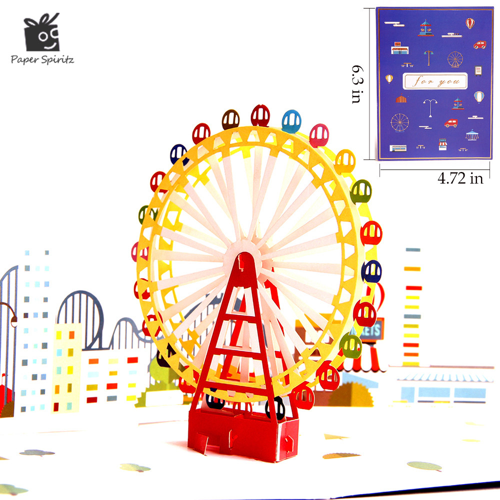 3D Pop up Card Wedding Invitations Greeting Cards Postcards Birthday Handmade Paper Laser Cut Vintage Colourful Ferris Wheel music card spiral pop up musical notes 3d card music instruments pop up card bday pop up card