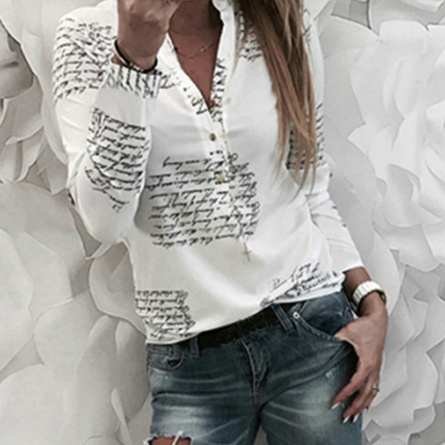 Letters Printed Buttons V-neck Sexy Tops Autumn Women Fashion Lady White Blouse Long Sleeve Shirts Spring Blusas Plus Size M0303