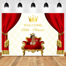 NeoBack Welcome Little Princess Newborn Backdrop Gold Crown Red Curtain Royal Baby Shower Photography Backdrops