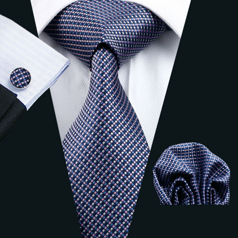 Ls-660 Men`S Tie 100% Silk Plaid Classic Jacquard Woven Tie+Hanky+Cufflinks Set For Man Formal Wedding Business Party