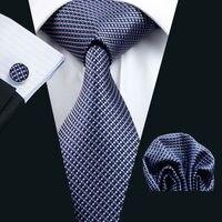 Ls 660 Men`S Tie 100% Silk Plaid Classic Jacquard Woven Tie+Hanky+Cufflinks Set For Man Formal Wedding Business Party