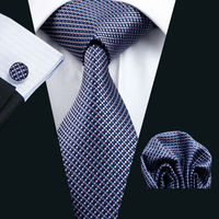 Ls 660 Men`S Tie 100% Silk Plaid Classic Jacquard Woven Tie+Hanky+Cufflinks Set For Man Formal Wedding Business Party