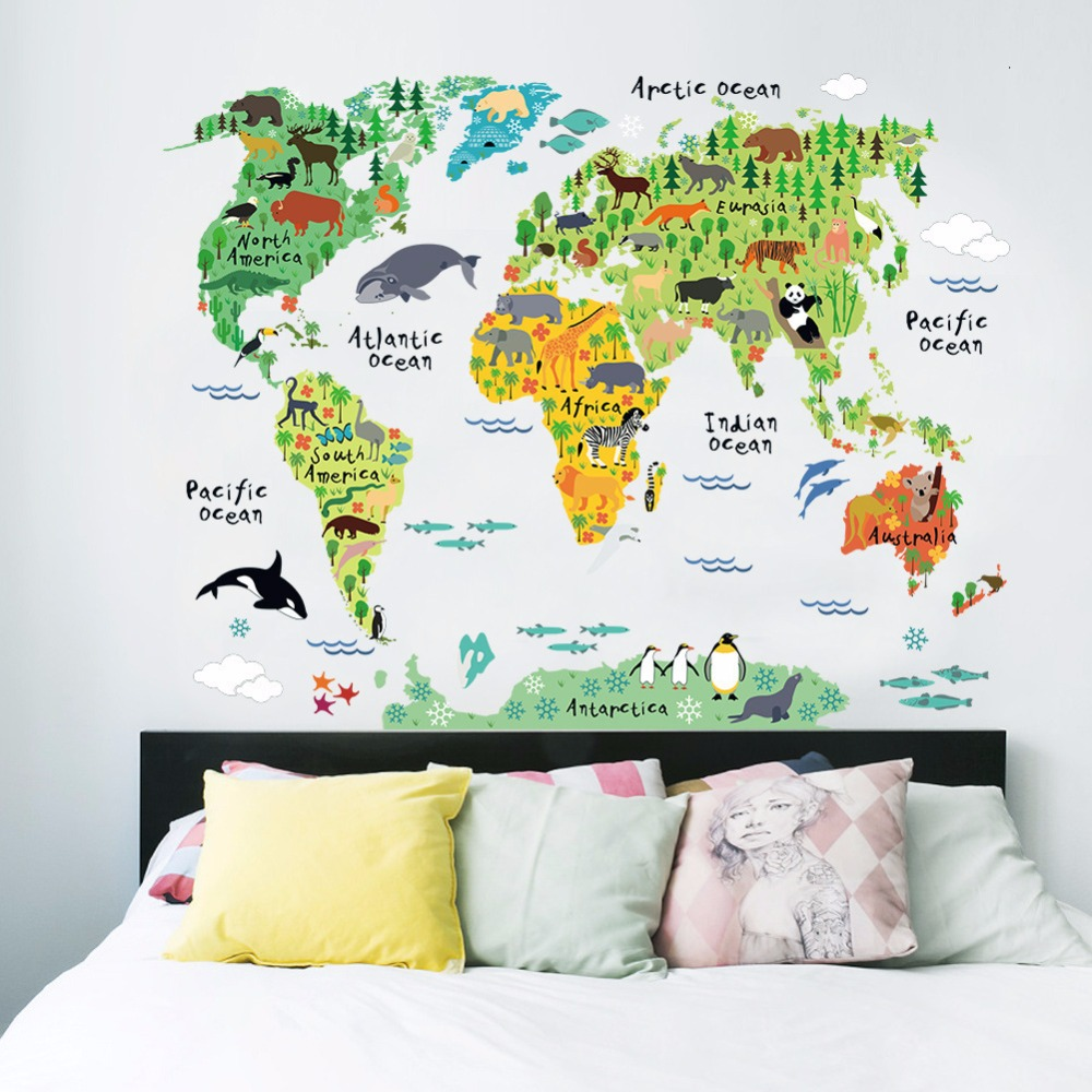 colorful animal world map wall stickers living room home decorations mural art office kids room wall art