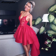 Sexy Spaghetti Strap Satin Prom Dress A-Line Red Lace Bodice High Low Party Gown Homecoming Dresses spaghetti strap striped high low dress